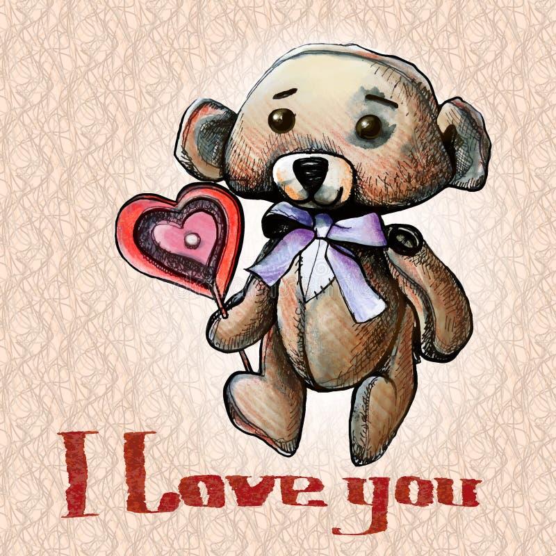 Illustration för nallebjörn stock illustrationer
