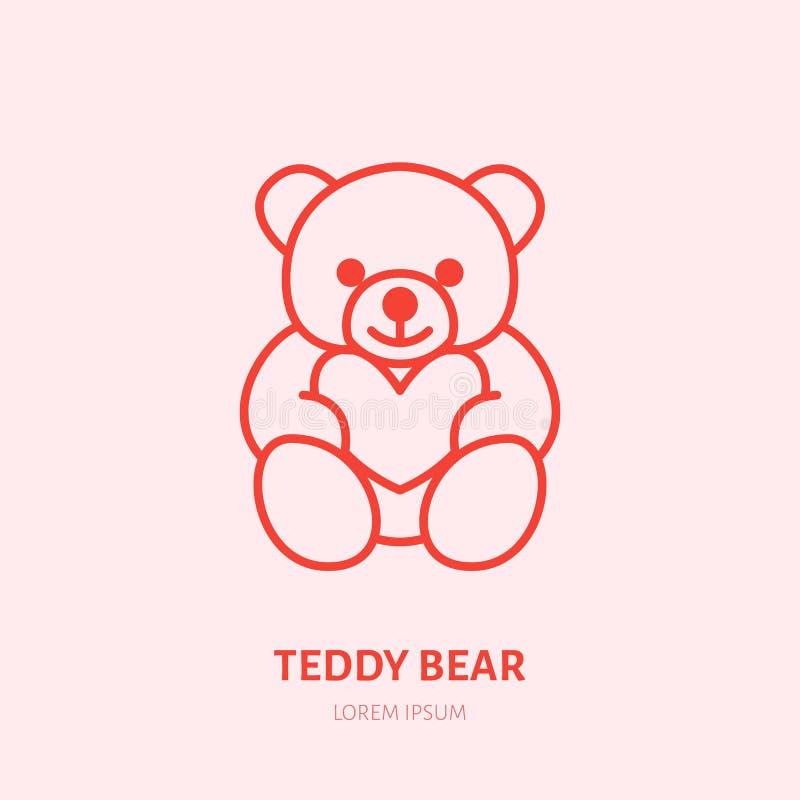 Illustration för nallebjörn Plyschlägenhetlinje symbol, logo för leksaklager Tecken för valentindaggåva stock illustrationer