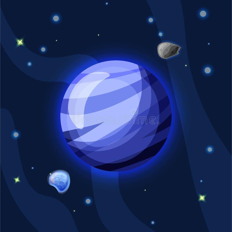 Illustration för Neptun vektortecknad film Blå Neptun planet av solsystemet i mörkt djupblått utrymme som isoleras på blått royaltyfri illustrationer