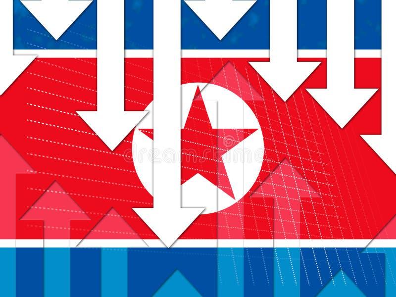 Illustration för Nordkorea ekonomisk affärskatastrof 3d stock illustrationer