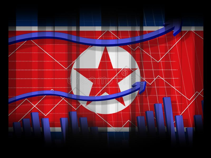 Illustration för Nordkorea ekonomisk finansiell kollaps 3d vektor illustrationer