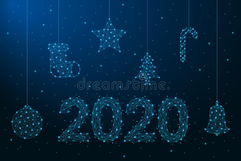 Illustration för nytt år som 2020 göras av punkter och linjer, polygonal wireframeingrepp, lågt poly julpynt extra ferie f?r kort royaltyfri illustrationer