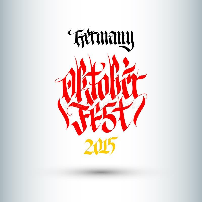 Illustration för Octoberfest ferievektor med bokstäversammansättning royaltyfri illustrationer