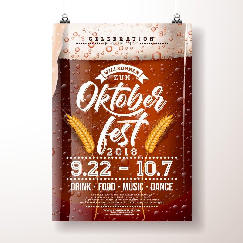 Illustration för Oktoberfest partiaffisch med den nya mörkt öl och wheatearen på klar bakgrund Vektorberömreklamblad stock illustrationer