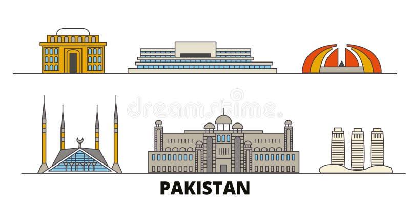 Illustration för Pakistan Islamabad plan gränsmärkevektor Pakistan Islamabad linje stad med berömda loppsikt, horisont stock illustrationer