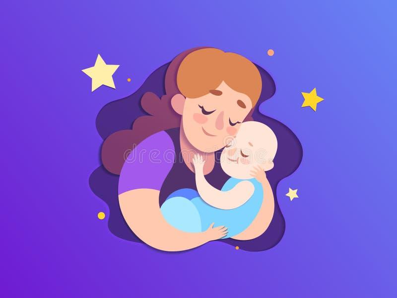 Illustration för papper för moderdag Mamman håller en sova son vektor illustrationer