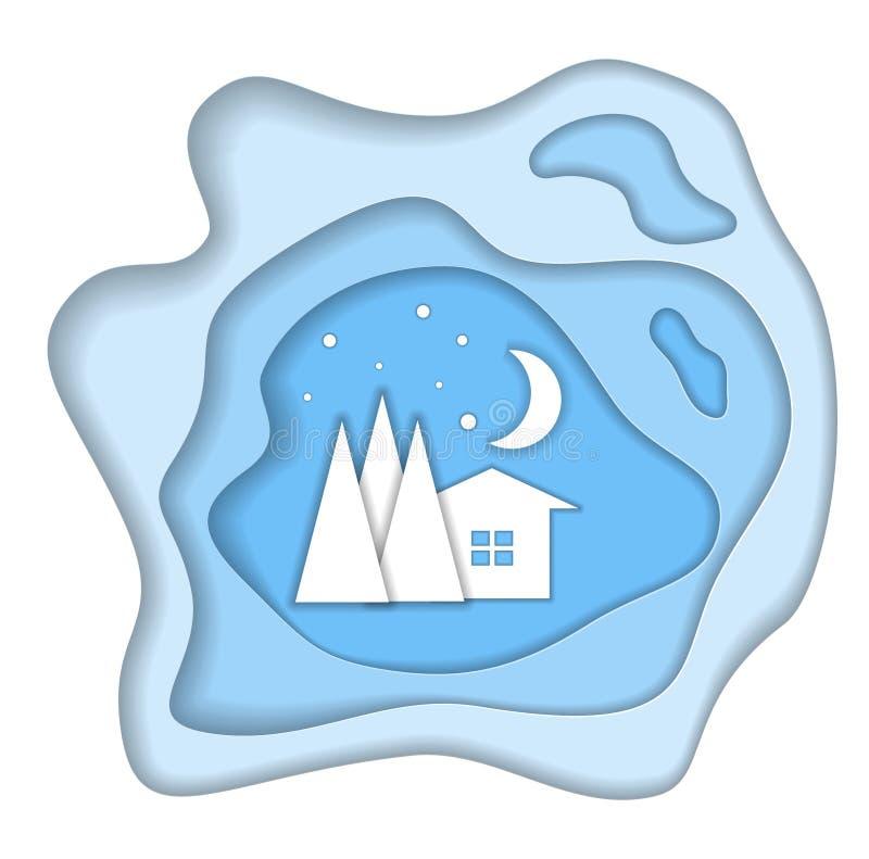 Illustration för papperssnittvektor för landrests för dag frysa vinter för tree för snow 10 eps vektor illustrationer