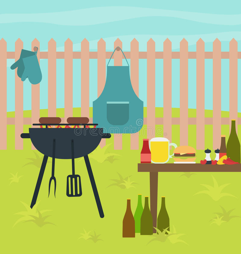 Illustration för parti för Bbq-gallertabell vektor illustrationer
