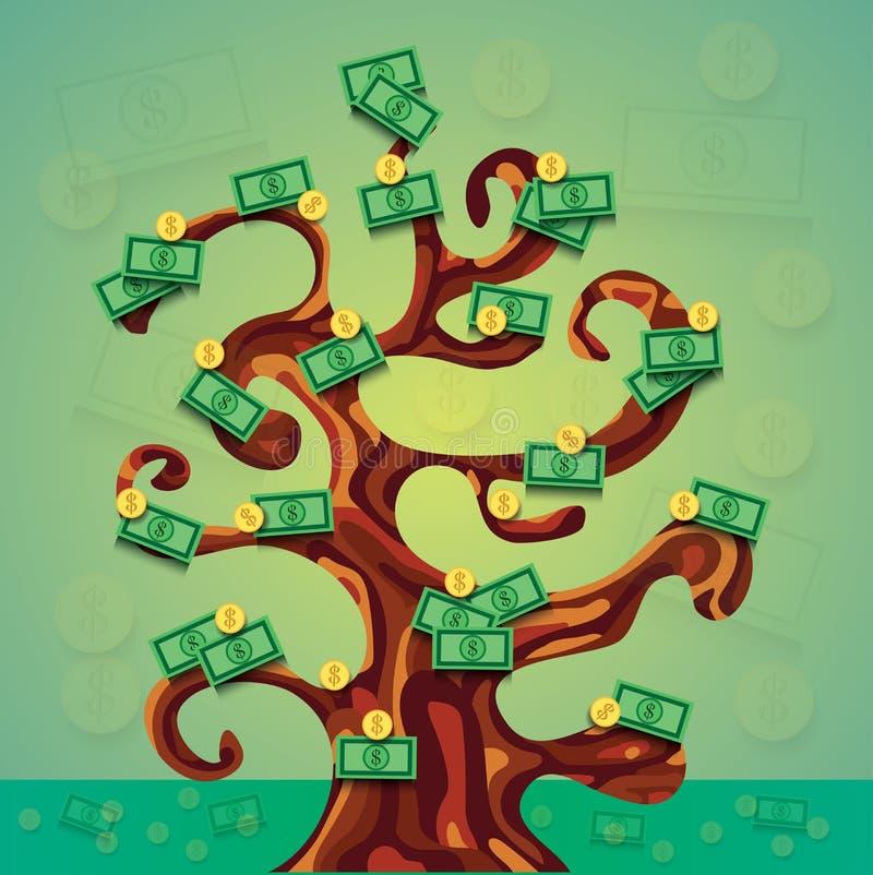 Illustration för pengarframgångträd med mycket dollarkassa och mynt royaltyfri illustrationer