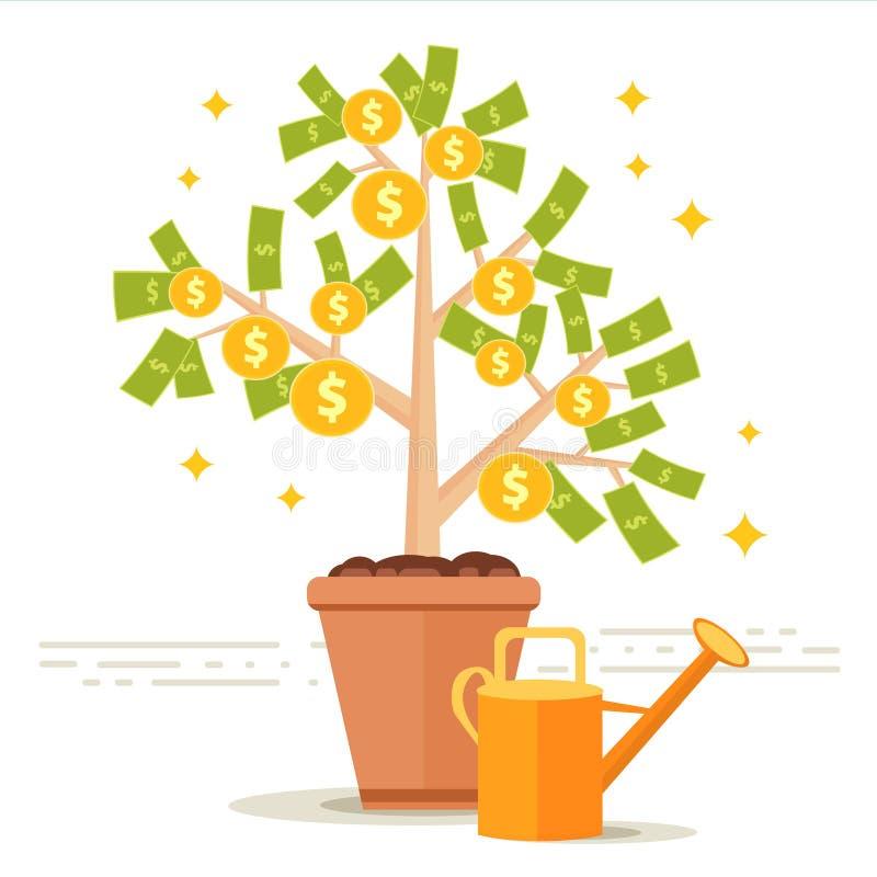 Illustration för pengarträdvektor Dollarsidor och guld- mynt fr royaltyfri illustrationer