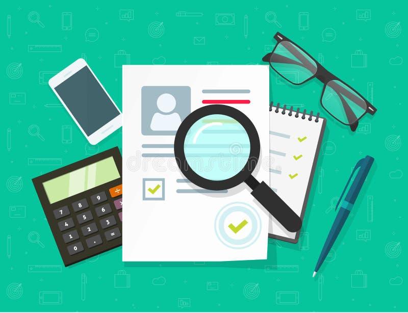 Illustration för personalresursbegreppsvektor, plant tecknad filmCV eller program - vitaedokumentforskning, personliga expertisda stock illustrationer