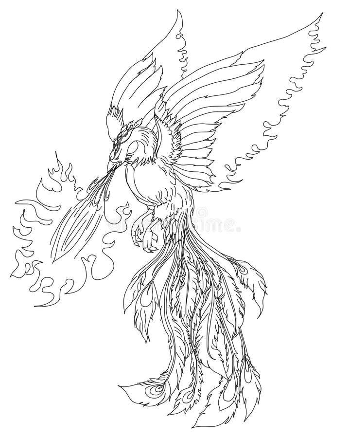Illustration för Phoenix brandfågel och teckendesign vektor illustrationer