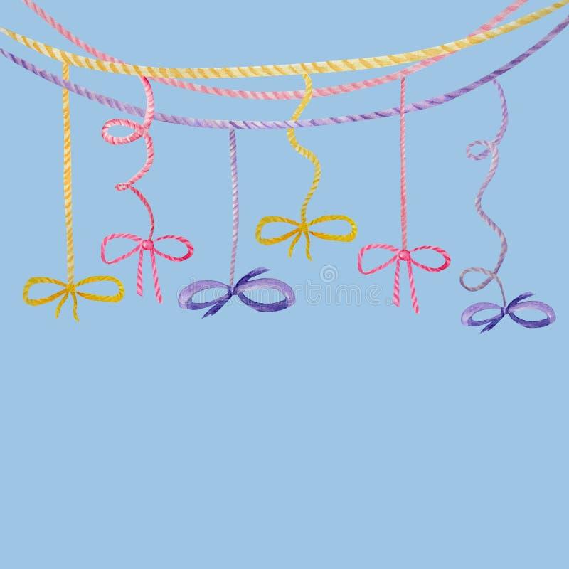Illustration för pilbåge för band för vattenfärgferie mångfärgad, festlig bunting gemkonst, design för födelsedagparti, på blåa b vektor illustrationer