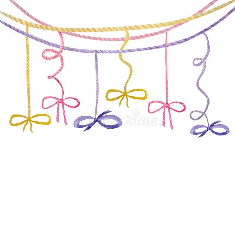 Illustration för pilbåge för band för vattenfärgferie mångfärgad, festlig bunting gemkonst, design för födelsedagparti som isoler royaltyfri illustrationer