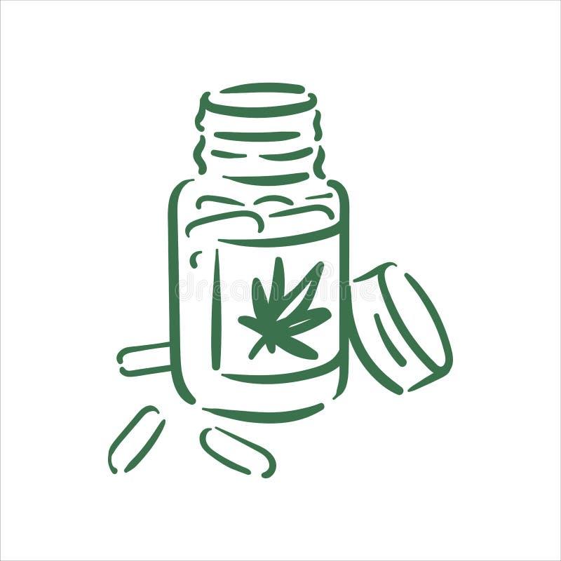 Illustration f?r piller f?r cannabis f?r vektorhand utdragen p? vit bakgrund royaltyfri illustrationer