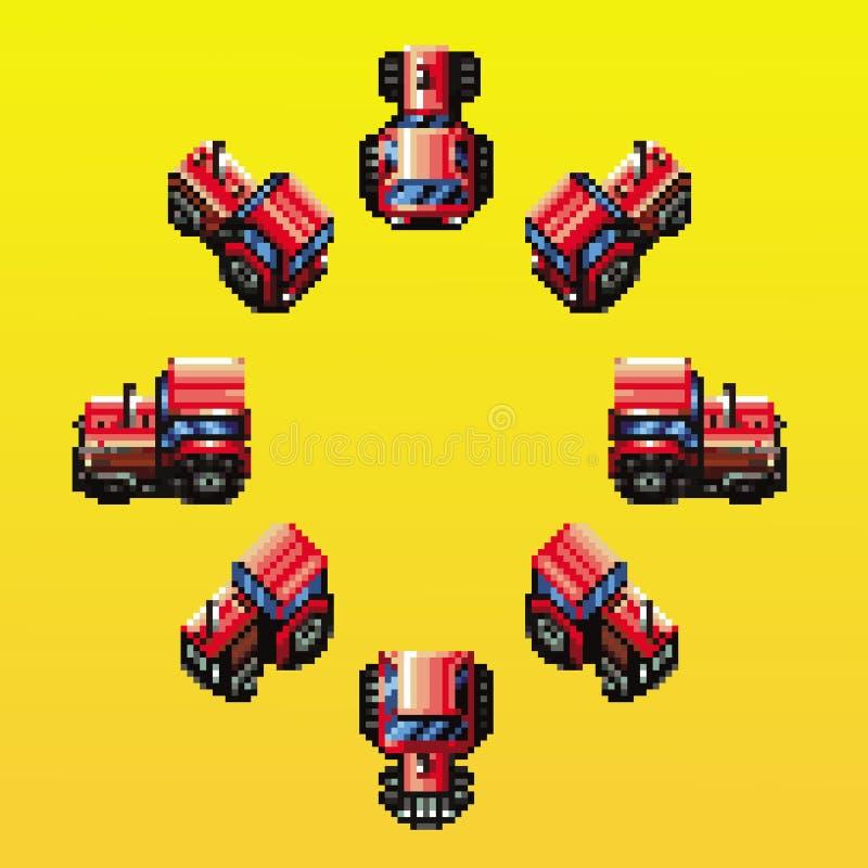 Illustration för PIXEL för riktningar för traktor åtta retro royaltyfri illustrationer
