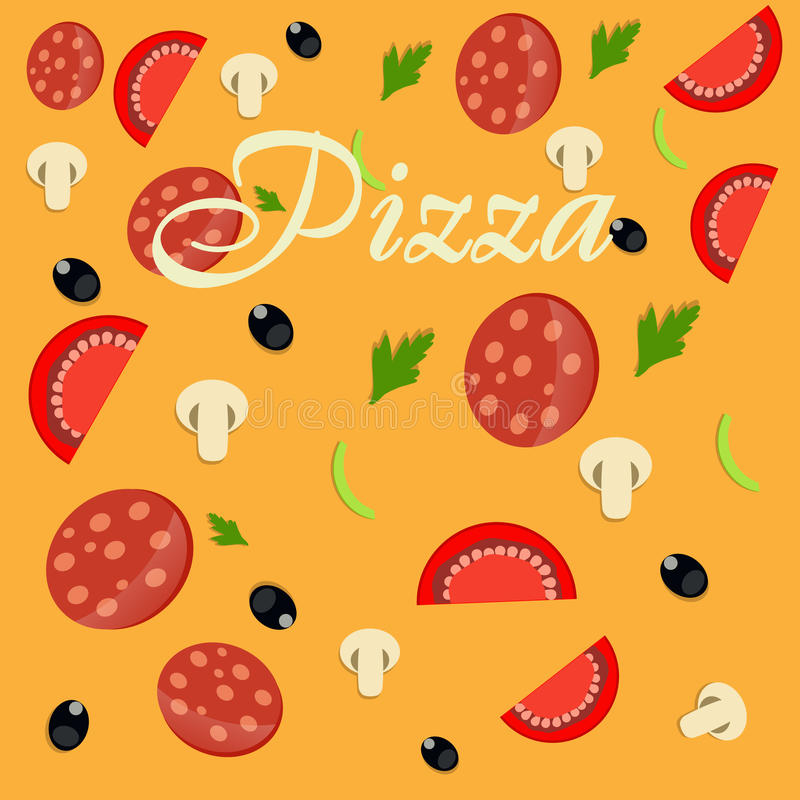 Illustration för pizzamenymall royaltyfri illustrationer