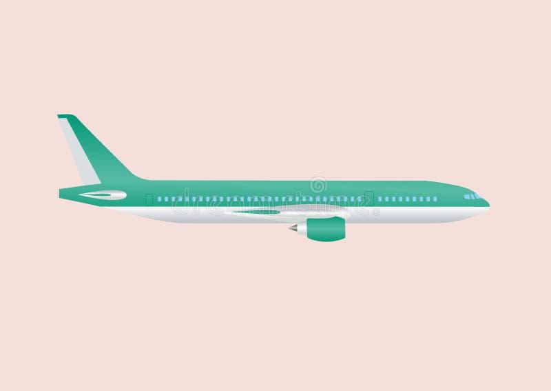 Illustration för plan vektor för luft för civilflyglopppassagerare Borgerligt kommersiellt flygplan Flygplan på bakgrund vektor illustrationer