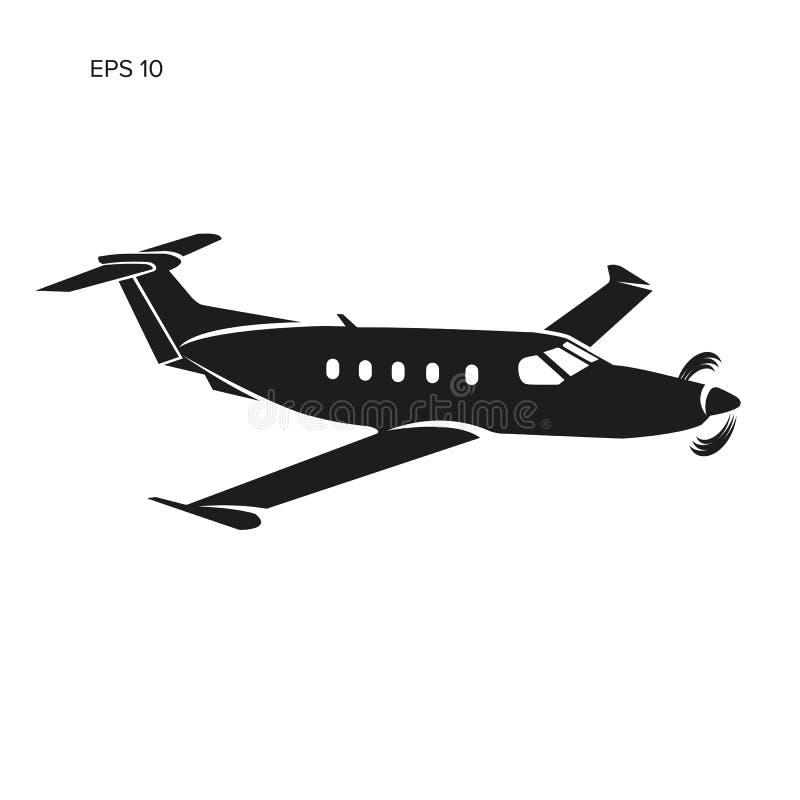 Illustration för plan vektor för Pivate affär Framdrivit flygplan för enkel motor royaltyfri illustrationer