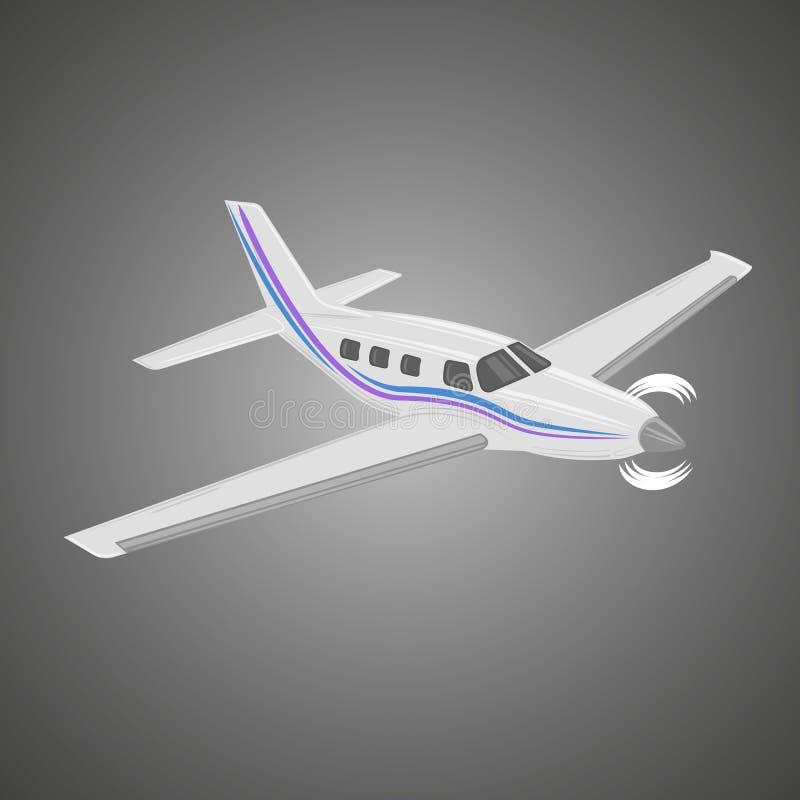 Illustration för plan vektor för Pivate affär Framdrivit litet lyxigt flygplan för enkel motor royaltyfri illustrationer