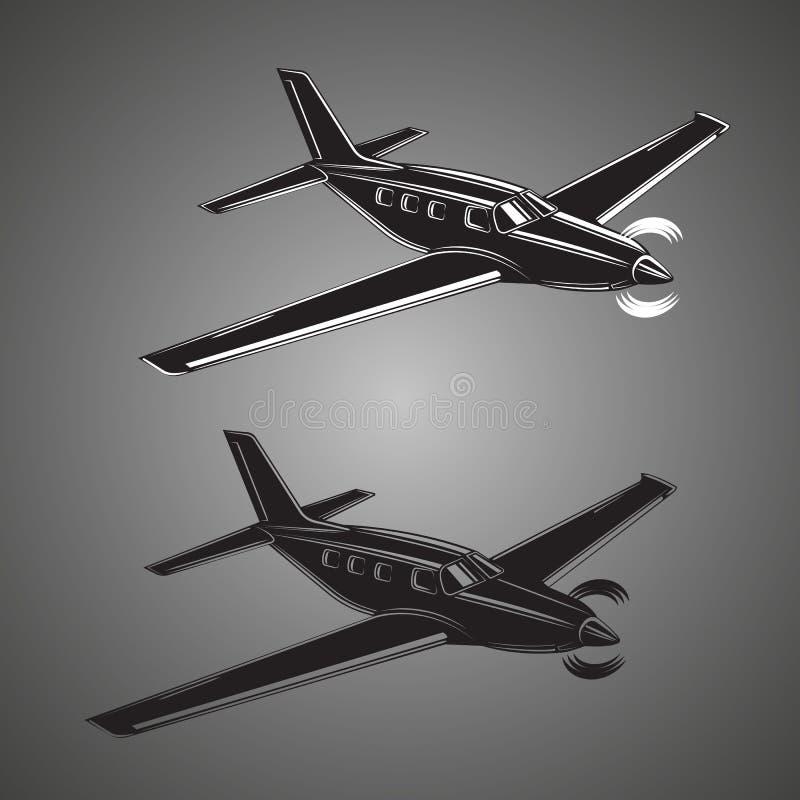 Illustration för plan vektor för Pivate affär Framdrivit litet lyxigt flygplan för enkel motor stock illustrationer