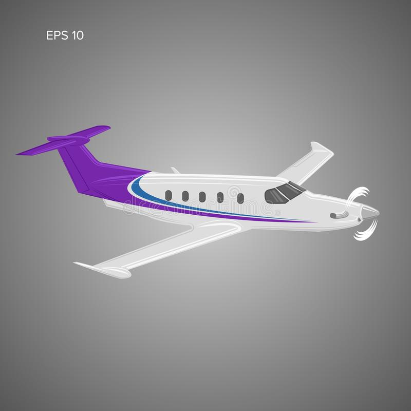Illustration för plan vektor för Pivate affär Framdrivit litet lyxigt flygplan för enkel motor vektor illustrationer