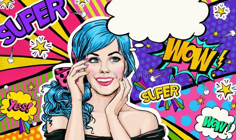 Illustration för popkonst av den blåa kvinnliga elevrepresentanten på bakgrund för popkonst Flicka för popkonst Etikett för tetid stock illustrationer