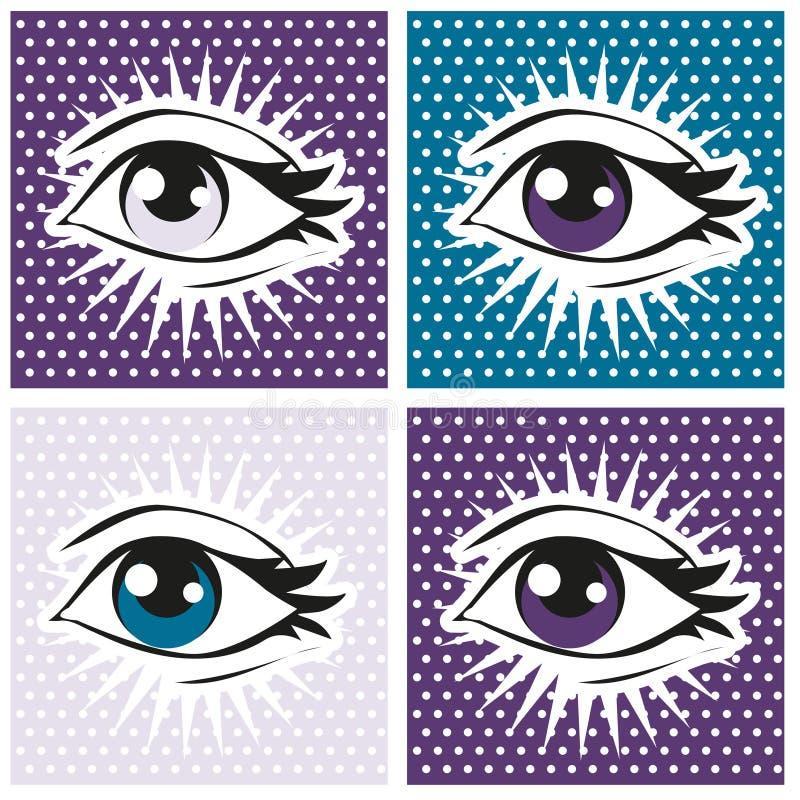 Illustration för popkonst av det mänskliga ögat och snärtar på prickbakgrund royaltyfri illustrationer