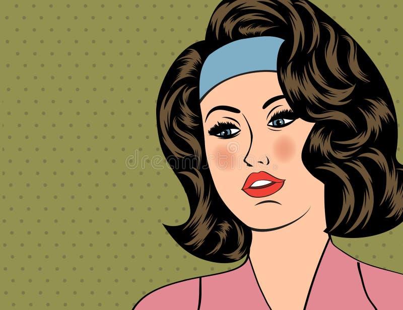 Illustration för popkonst av flickan stock illustrationer