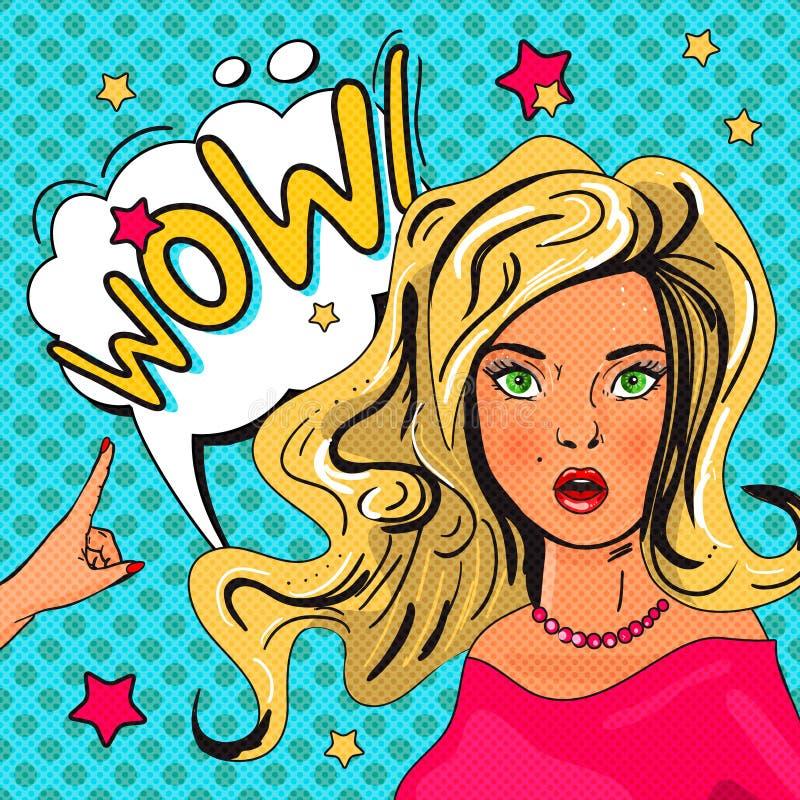 Illustration för popkonst av flickan med anförandebubblan vektor illustrationer