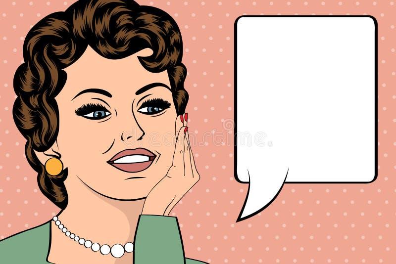 Illustration för popkonst av flickan med anförandebubblan Flicka för popkonst stock illustrationer
