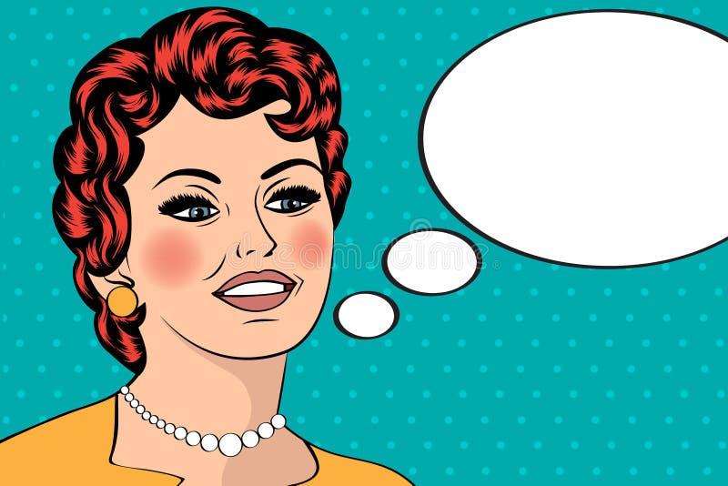 Illustration för popkonst av flickan med anförandebubblan Flicka för popkonst royaltyfri illustrationer