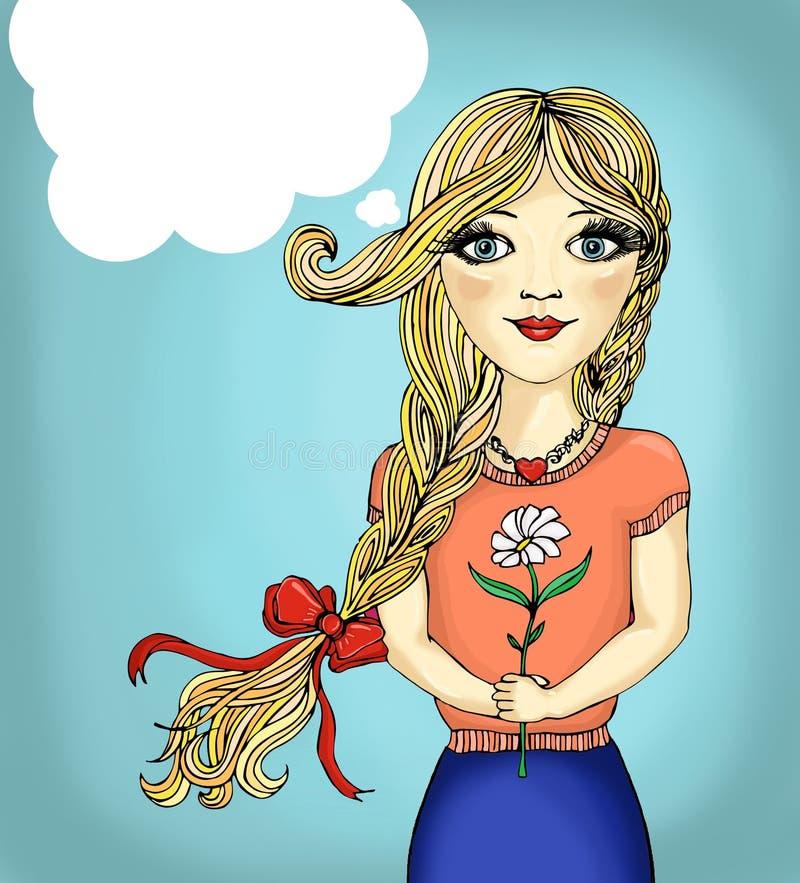 Illustration för popkonst av flickan med anförandebubblan Flicka för popkonst vektor illustrationer