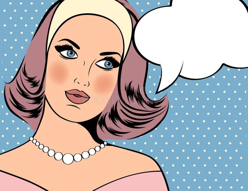Illustration för popkonst av kvinnan med anförandebubblan stock illustrationer