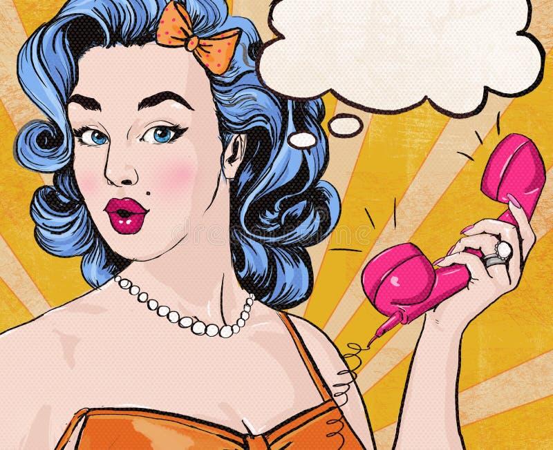 Illustration för popkonst av kvinnan med den retro telefonen för anförandebubblamyra stock illustrationer