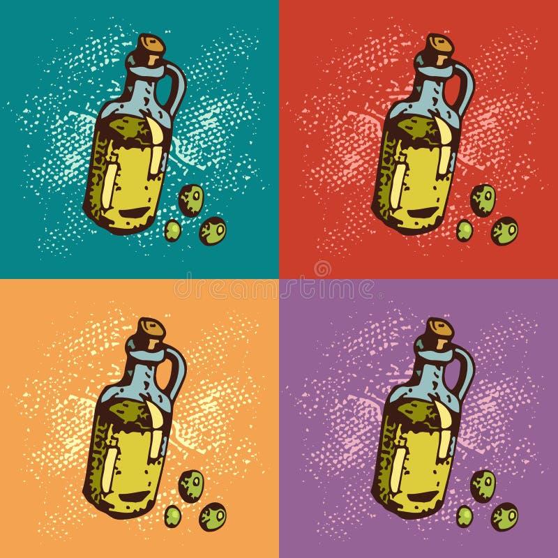 Illustration för popkonst av olivolja Botle av olja den främmande tecknad filmkatten flyr illustrationtakvektorn stock illustrationer