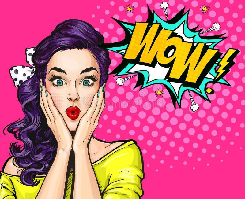 Illustration för popkonst, förvånad flicka Komisk kvinna dundersuccé annonsering av affischen Flicka för popkonst Etikett för tet stock illustrationer