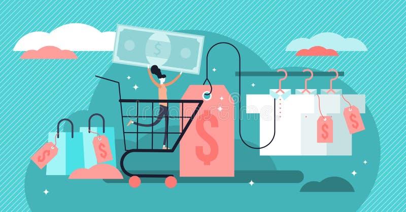 Illustration för prissättningvektor Plana mycket små prislappar och etikettpersonbegrepp stock illustrationer