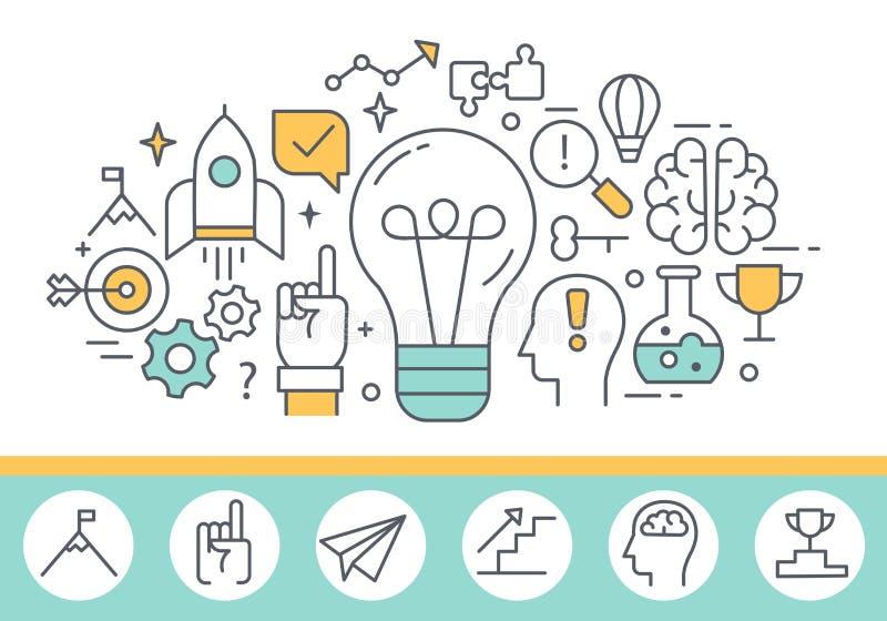 Illustration för process för innovationbegrepp och för mänsklig mening stock illustrationer