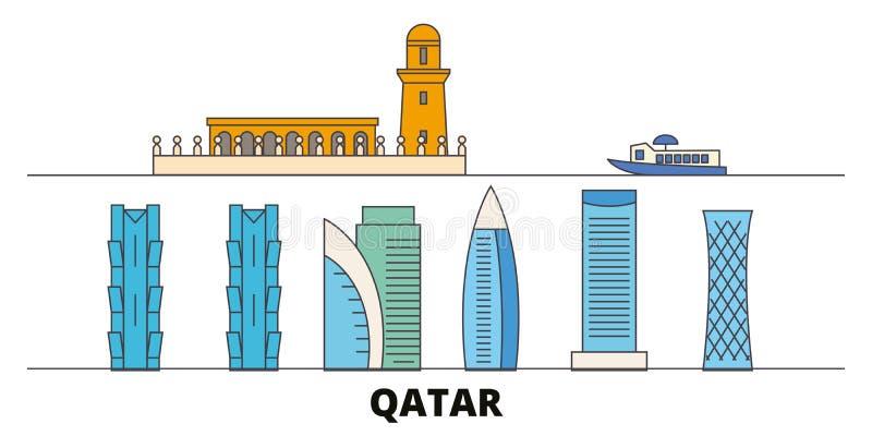 Illustration för Qatar Doha plan gränsmärkevektor Qatar Doha linje stad med berömda loppsikt, horisont, design royaltyfri illustrationer