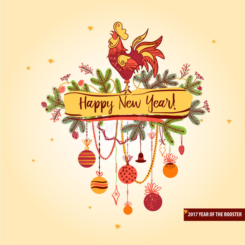 Illustration för röd tupp för lyckligt nytt år 2017 Konturcoc vektor illustrationer