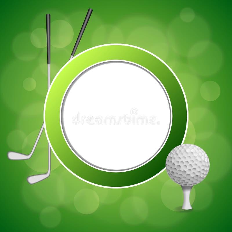 Illustration för ram för cirkel för klubba för boll för sport för golf för bakgrundsabstrakt begreppgräsplan vit royaltyfri illustrationer