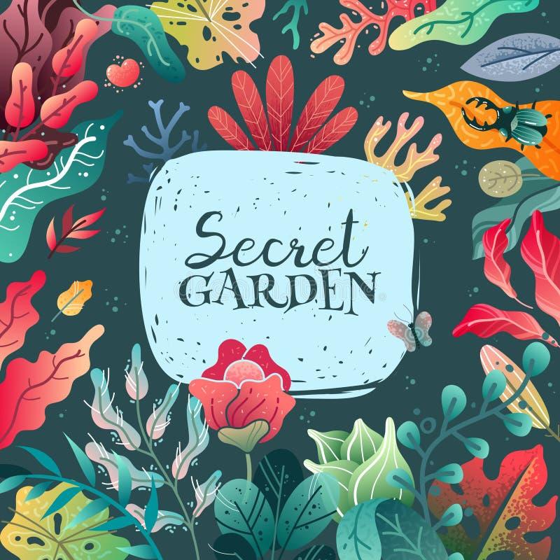 Illustration för ram för vårsommar dekorativ En bred variation av växtbeståndsdelar royaltyfri illustrationer