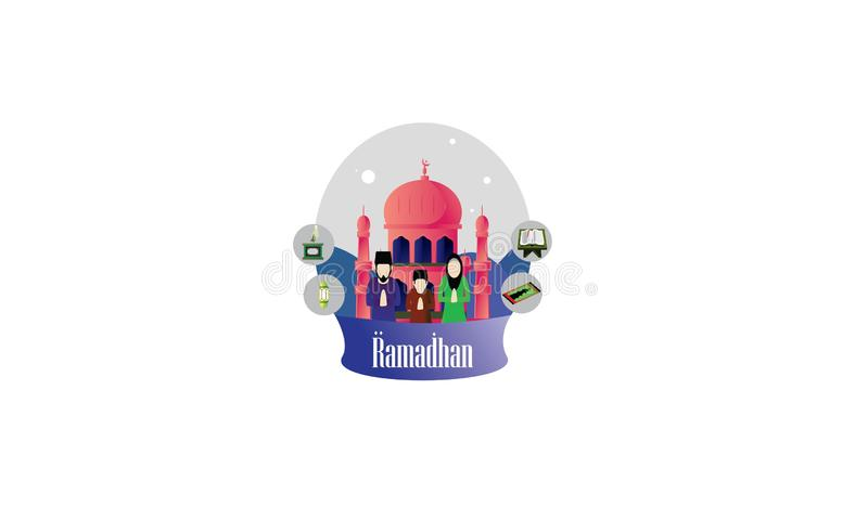 Illustration f?r Ramadanmubarak plan design vektor illustrationer