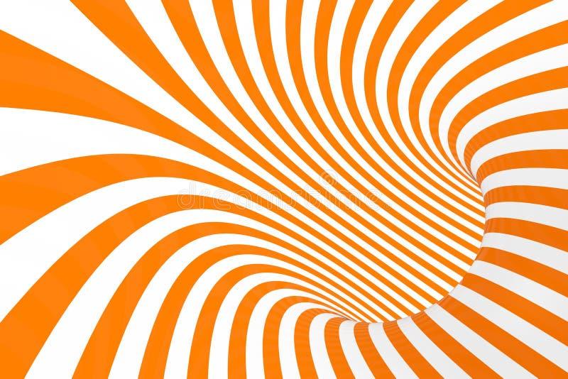 Illustration för raster för optisk illusion för torus 3D Hypnotisk vit och orange rörbild Kontrastera vrida öglor, band smyckar royaltyfri illustrationer