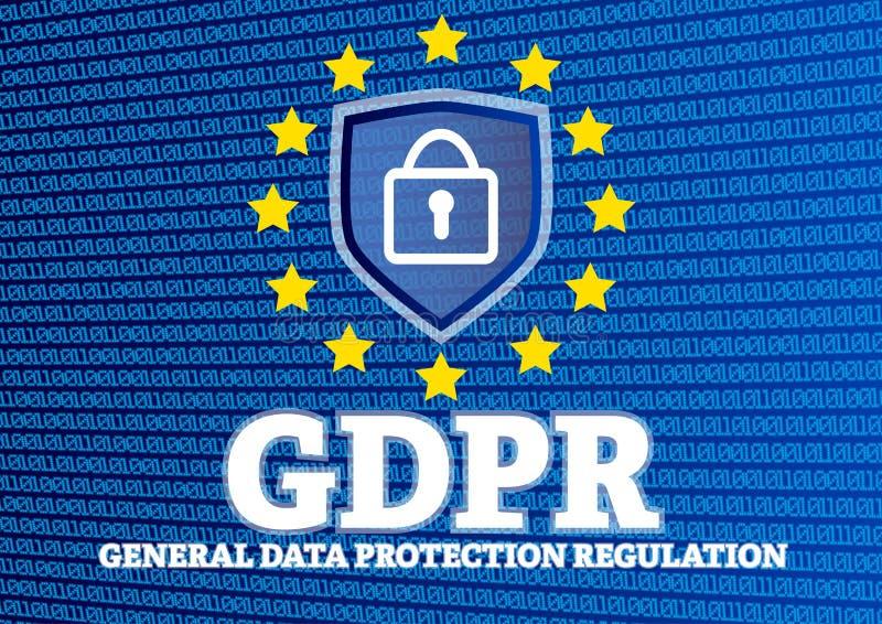 Illustration för reglering för skydd för allmänna data för GDPR europeisk med skölden och låset på glödande binär kod vektor illustrationer