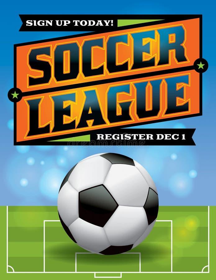 Illustration för reklamblad för fotbollliga vektor illustrationer