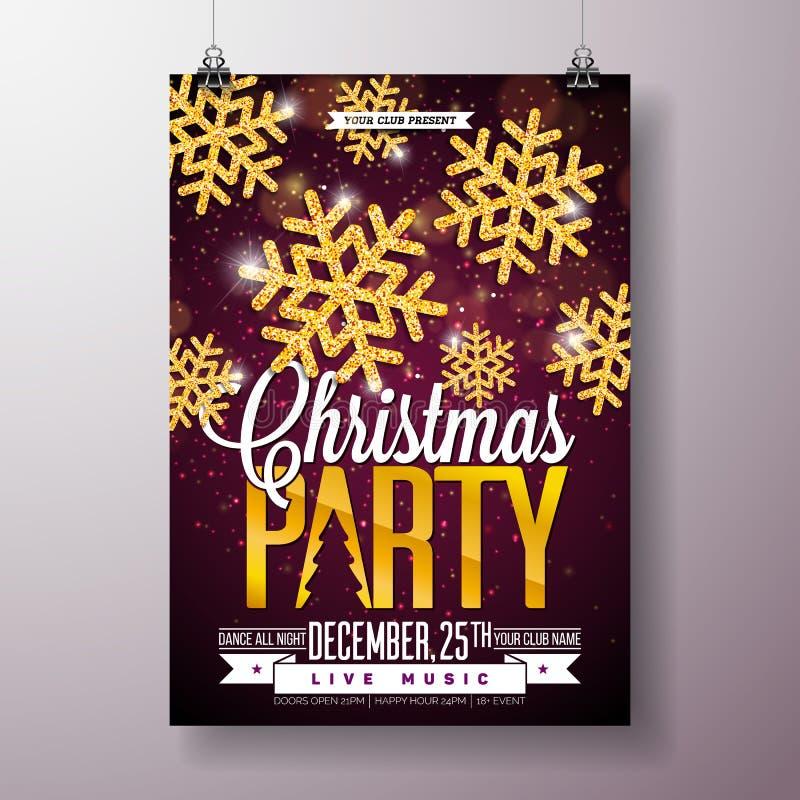Illustration för reklamblad för julparti med skinande guld- snöflingor och typografibokstäver på mörk bakgrund vektor stock illustrationer