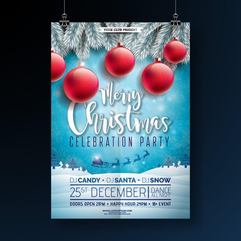 Illustration för reklamblad för julparti med typografibokstäver- och feriebeståndsdelar på vinterlandskapbakgrund vektor vektor illustrationer