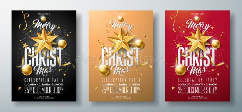 Illustration för reklamblad för parti för glad jul för vektor med ferietypografibeståndsdelar och den guld- dekorativa bollen, ut vektor illustrationer